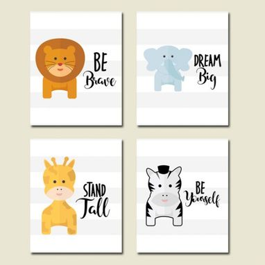 Custom Made Nursery Animals Canvas Art Wall Decoration Set Of 4