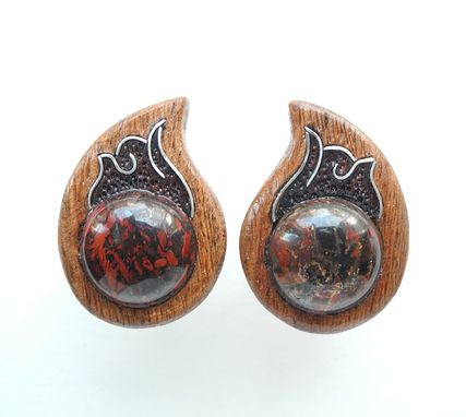 Custom Made Wooden Inlaid Cuff Links With Jasper