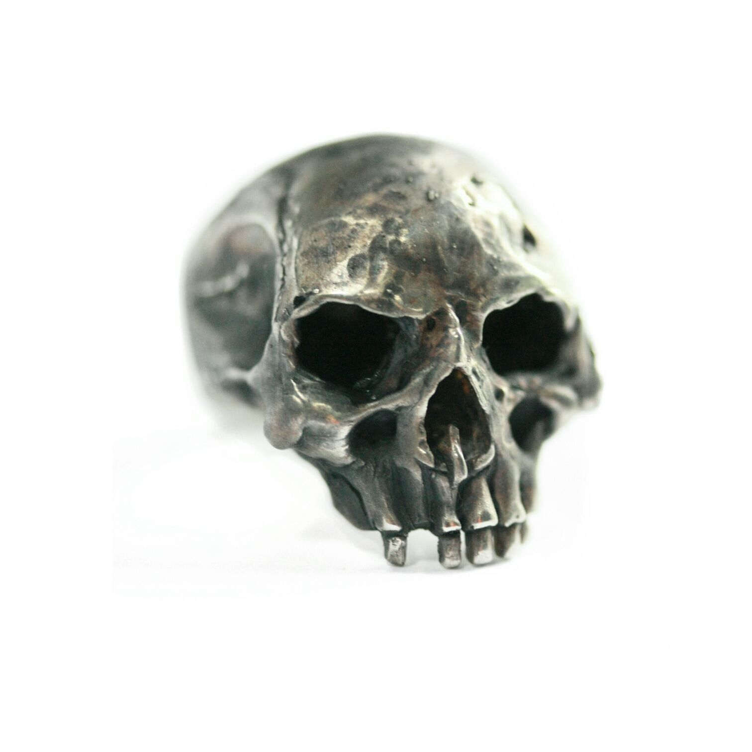 Buy a Custom Sterling Silver Skull Statement Ring Biker Ring