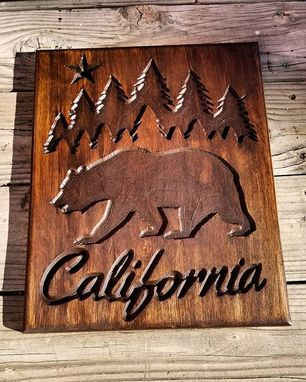 Custom Made Rustic California Grizzly Bear And Tree Sign