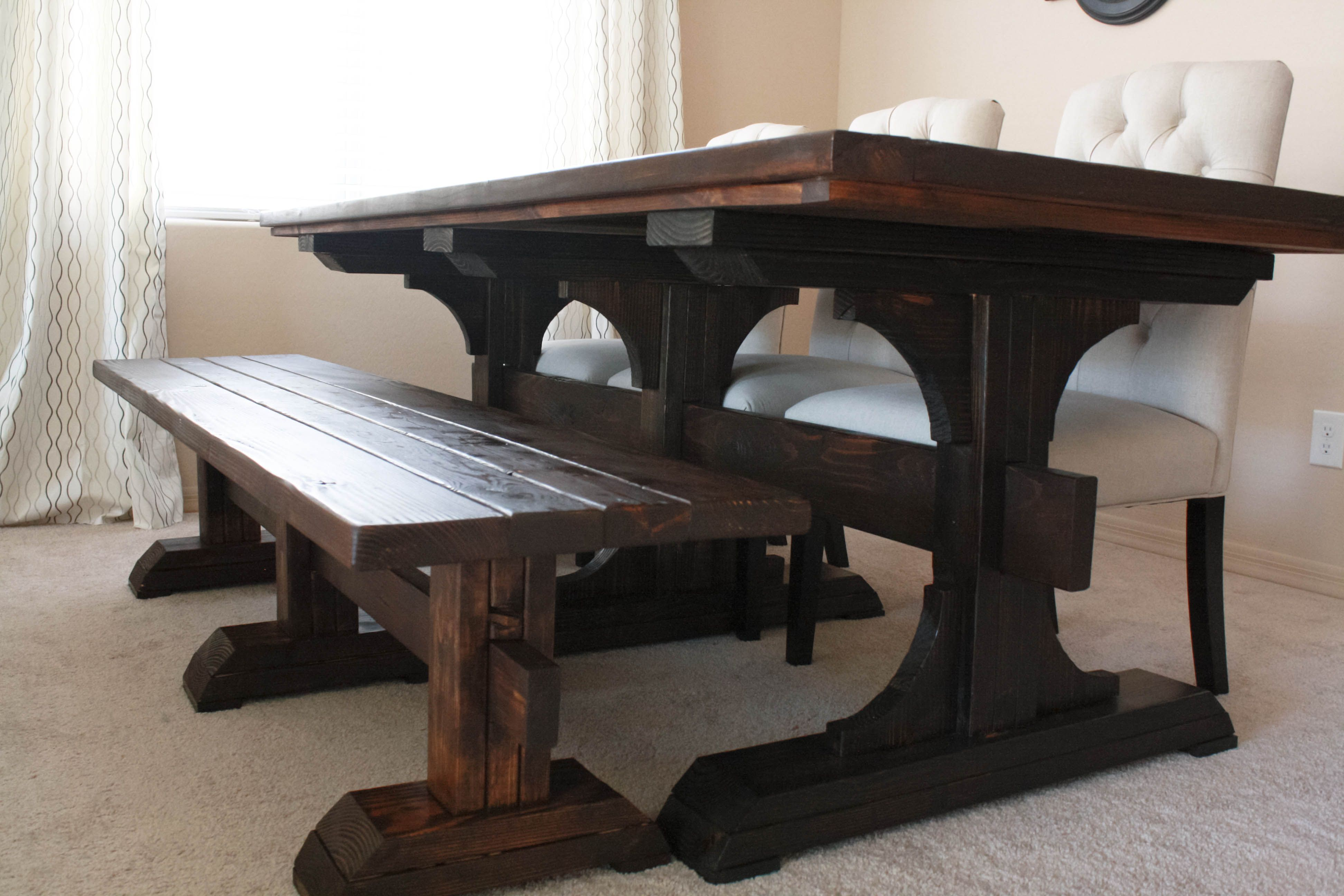 Custom Made Triple Pedistal Farmhouse Sytle Table By