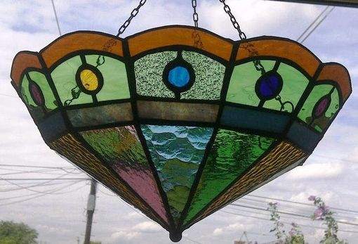 Custom Made Colorful Stained Glass Hanging Lamp Shades /  Restoration Work (L-3)