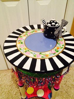 Custom Made Hand Painted Round Side Accent Table Custom Design//Painted Table//Whimsical Painted Furniture