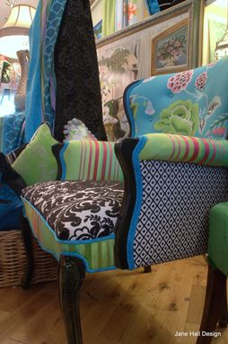Custom Made Upholstered Vintage Chairs In Kelly Green, Turquoise, Black And White