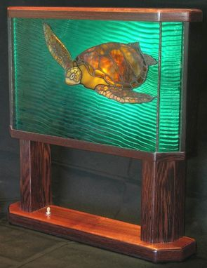 "Custom Made Art-Glass Decorative Table Lamp, ""Honu."""
