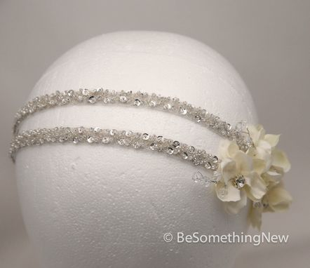 Custom Made Silver And Ivory Wedding Hair Acessory, Beaded Double Tie Headband With Petals And Crystals