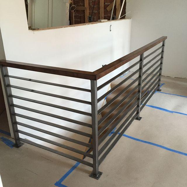 Custom Made Horizontal Slat Railing Brushed Steel By Wacoavenue Fabrication Custommade