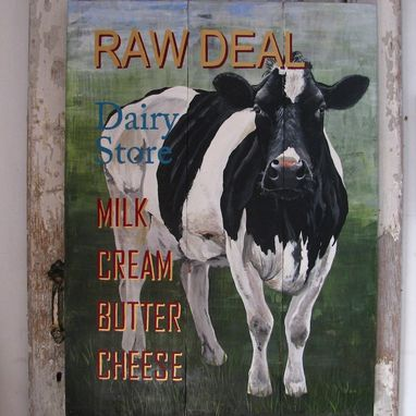 Custom Made Black And White Cow Sign  Painted On Repurposed Woodpanels