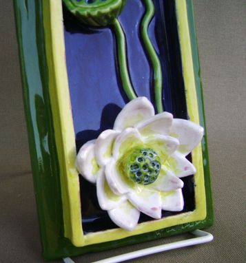 Custom Made 20 Percent Discount Lotus Water Lily With Pods 3-D Ceramic Tile House Plaque, Ready To Ship