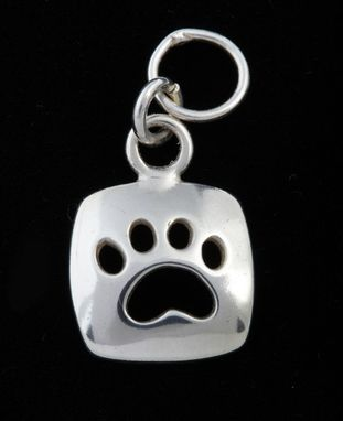 Custom Made Small Paw Cut-Out Charm - Square