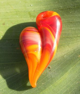 "Custom Made Red And Orange Glass Heart Pendant ""Fiery Heart''"