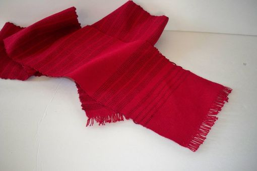 Custom Made Red Scarf Cotton Woven By Hand