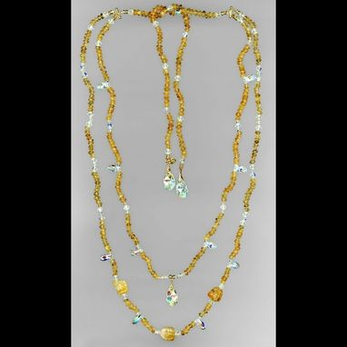 Custom Made Citrine & Crystal Bib Necklace