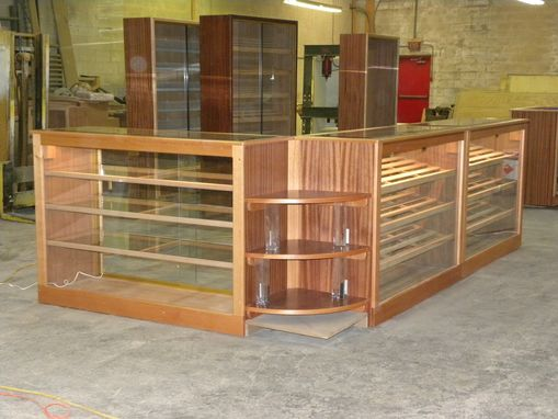 Custom Made Mahogany And Cedar Counter Display And Humidors With Led Lights