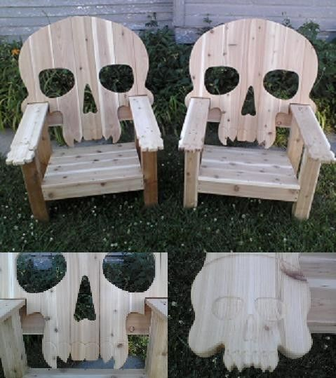 Wood Skull Lawn Chairs ~ Handmade custom adirondack chair by woodgroovin