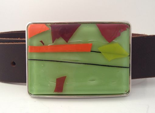 Custom Made Green, Orange And Red Confetti Fused Glass Belt Buckle