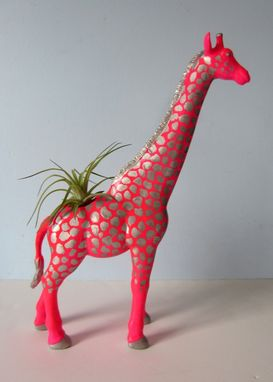Custom Made Upcycled Toy Planter - Giant Neon Pink Giraffe With Silver Spots And Air Plant
