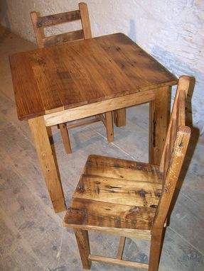 Custom Made Reclaimed Antique Wormy Chestnut Rustic Dining Set