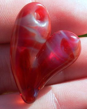 Custom Made Hand-Blown Glass Heart Pendant In Reddish Pink And Purple