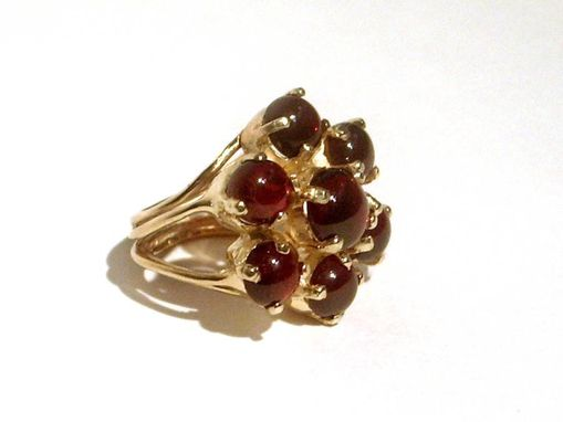 Custom Made Sterling Silver And 18 Kt Gold Vermeil Flower Cocktail Ring With  Red Garnet Cabochons