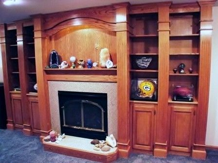 Custom Made Oak Mantel Wall Unit