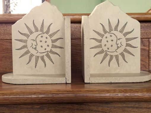 Custom Made Celestial Engraved Travertine Bookends