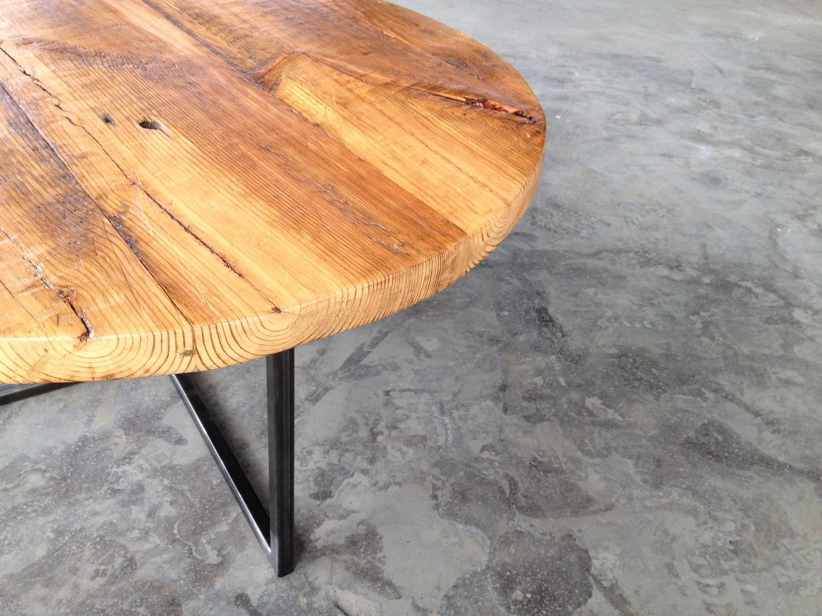 Hand Crafted Reclaimed Wood Table Round Reclaimed Wood And Steel