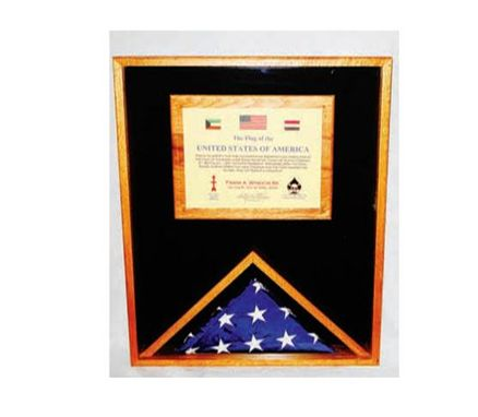 Custom Made Large Military Memorial Flag, Medal Display Case