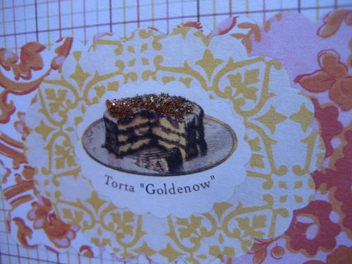 Custom Made Glittery Cake On Yellows And Oranges Birthday Card Set