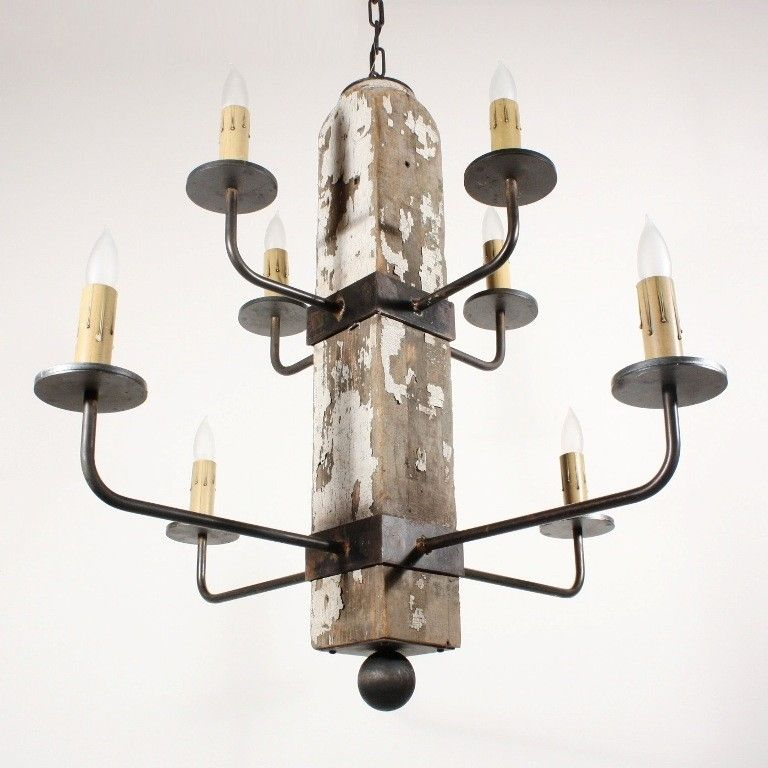 Custom Made 8 Light Reclaimed Porch Post Iron Chandelier
