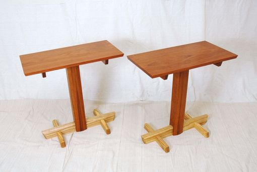 Custom Made Asian Post And Beam Side Tables