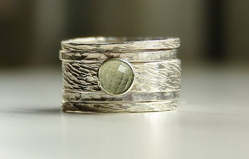 Custom Made Hannah' Rustic Ring: Seamfoam Green Amethyst & Sterling Silver Stackable / Stack Rings