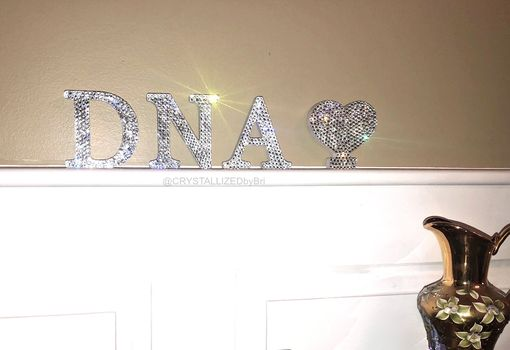 "Custom Made Freestanding Crystallized 3"" Wooden Letter Bling W/ Swarovski Crystals Bedazzled"