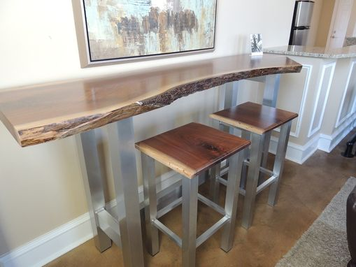 Custom Made Live Edge Walnut Bar Table Set 2with Aluminum Base