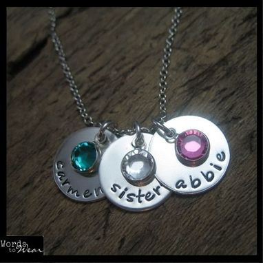 Custom Made Custom Hand Stamped Trio With Birthstone Crystals