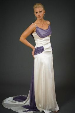 Custom Made Silk Satin Bridal Gown With Colorful Hip Wap And Drape