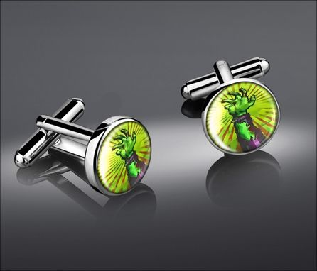 Custom Made Living Dead Green Zombie Hand Mens Silver Cufflink Set 82-Src