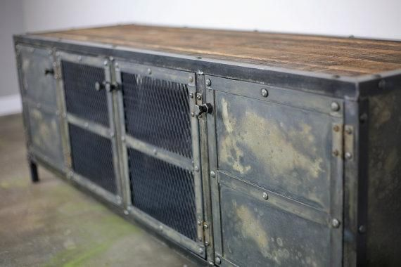 Hand made vintage industrial media console credenza buffet for Sideboard industrial design