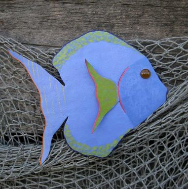 Custom Made Handmade Upcycled Metal Tropical Fish Wall Art Sculpture In Blue