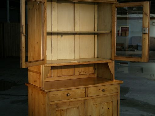 Custom Made European Hutch With Glass Doors. Golden Brown Finish With Snow White Interior