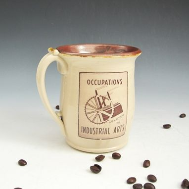 Custom Made Pottery Mug In Cream And Burgundy With Wpa Posters