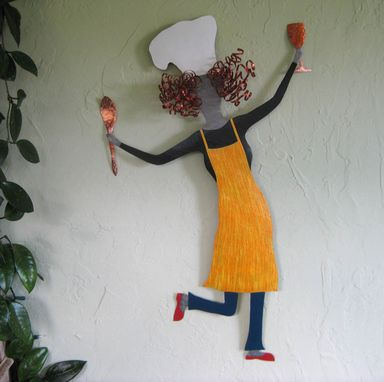 Custom Made Large Chef Art Sculpture Hand Painted Dancing Lady Wallor Reclaimed Metal Red Head 19 X 31