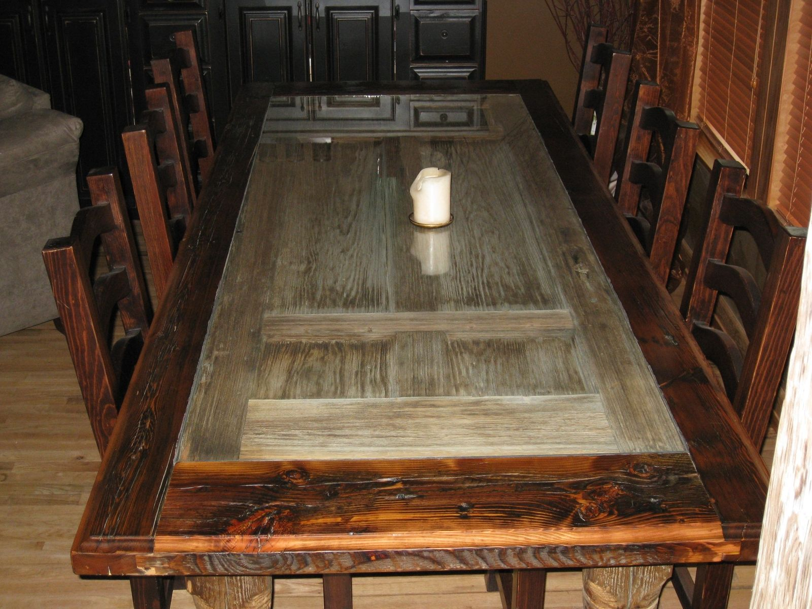 Handmade reclaimed barnwood dining room table by rusty for Unique wood dining room tables