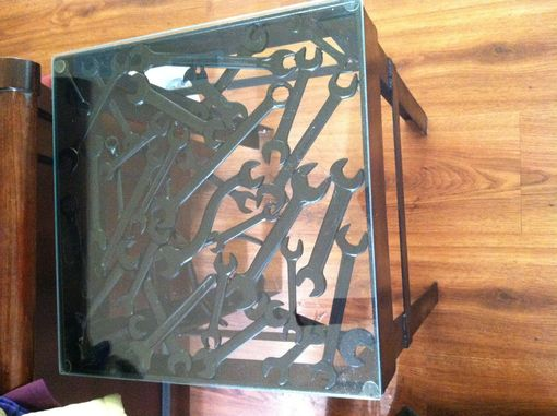 Custom Made Metal Side Table With Wrenches And Tools For Table Top