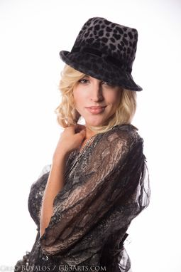 Custom Made Hand-Blocked Gray And Black Leopard Print Fedora Hat