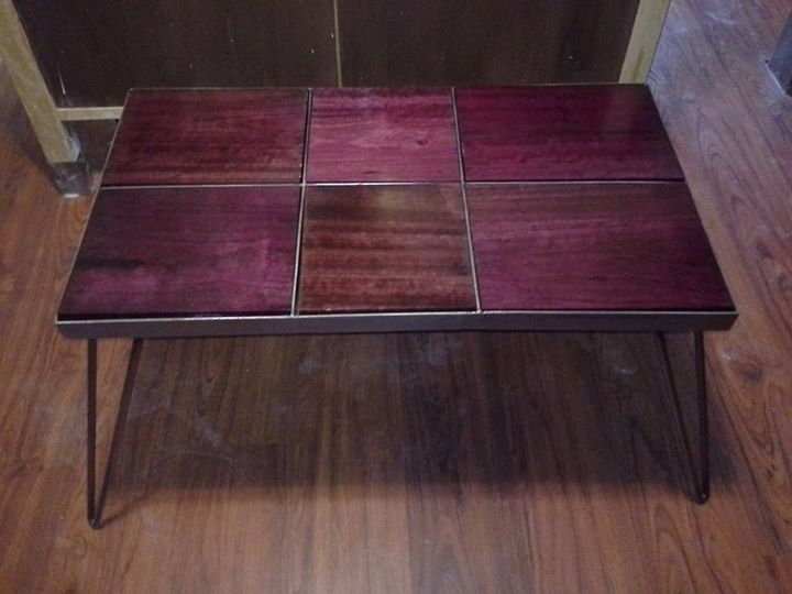 Custom Made Reclaimed Purple Heart Coffee Table With Steel Base And Hairpin Legs
