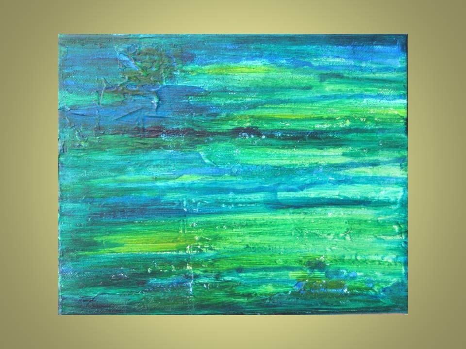 Hand Crafted Original Abstract Painting 8 X10 Turquoise