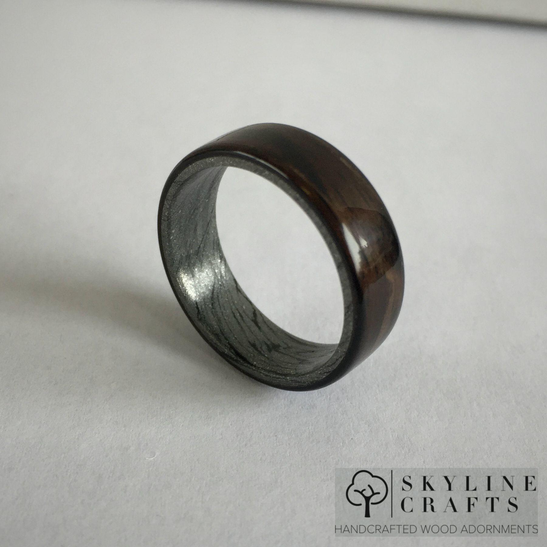 Buy a Handmade Ebony And Damascus Bentwood Ring Ebony Wood Ring