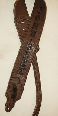 Handmade Personalized Leather Guitar Strap With Name And