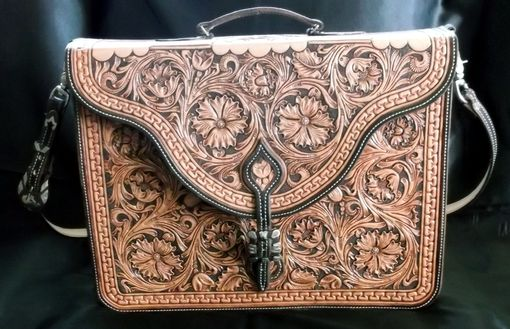 Custom Made Floral Carved Briefcase